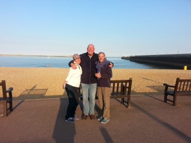 Chris, Pete and Ali at Dover Harbour