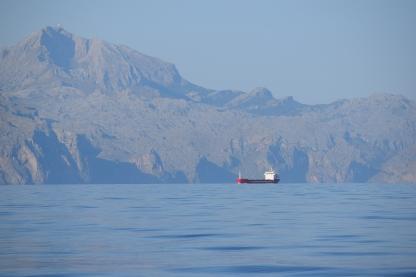 Cargo Ship following the coast of Mallorca